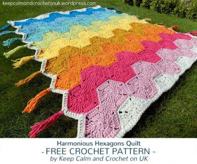 Free Crochet Pattern Harmonious Hexagons Quilt