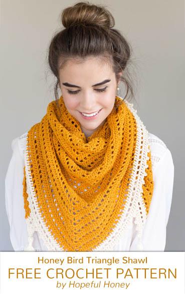 Free Crochet Pattern Honey Bird Triangle Scarf