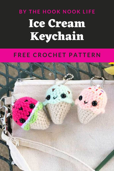 Free Crochet Keychain Pattern- Ice Cream Cone - thefriendlyredfox.com | 595x397