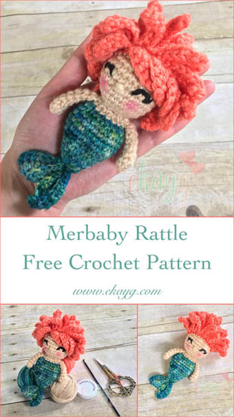 Free Crochet Pattern Mermaid Rattle