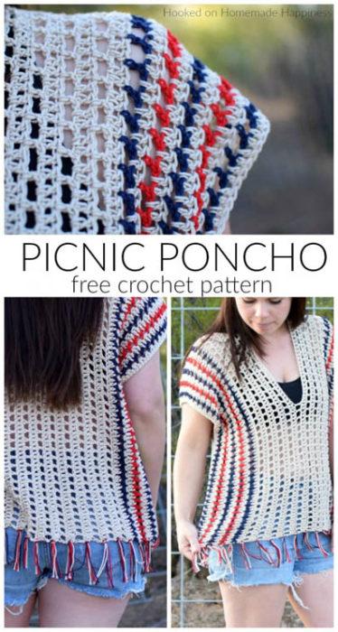 Free Crochet Pattern Picnic Poncho