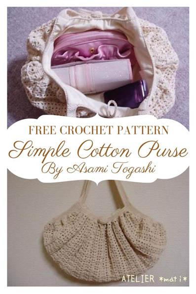 Free Crochet Pattern Simple Cotton Purse