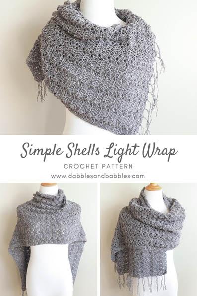 Free Crochet Pattern Simple Shells Wrap