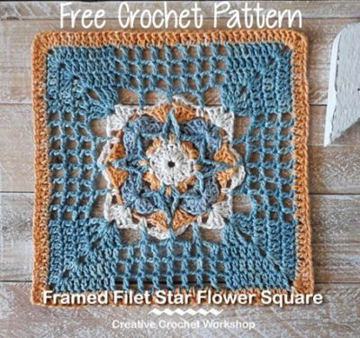 Free Crochet Pattern Star Flower Square