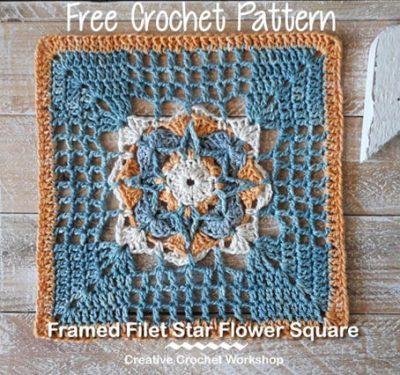 Free Crochet Pattern Star Flower Square