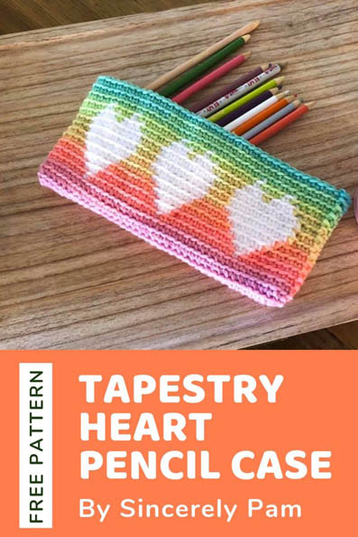 Free Crochet Pattern Tapestry Heart Pencil Case