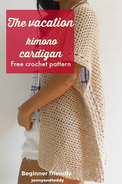 Free Crochet Pattern Vacation Kimono Cardigan