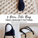 Free Crochet Pattern 3 Hour Tote Bag