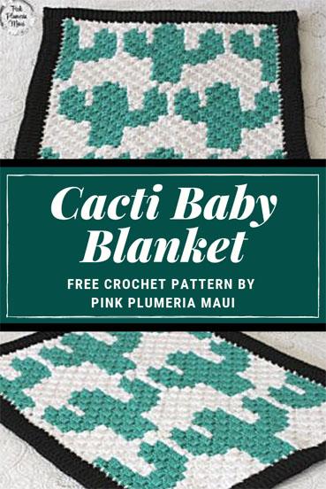 Free Crochet Pattern Cacti Baby Blanket