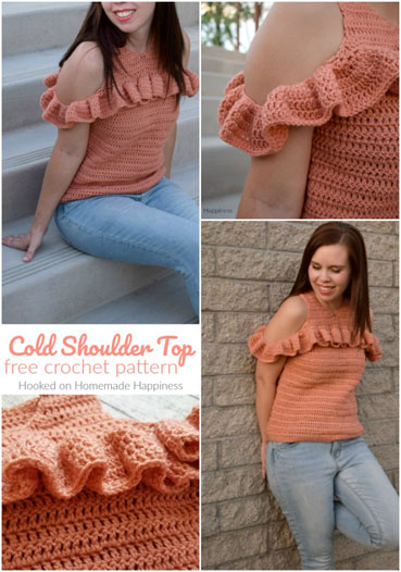 Free Crochet Pattern Cold Shoulder Top