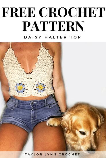 Free Crochet Pattern Daisy Halter Top