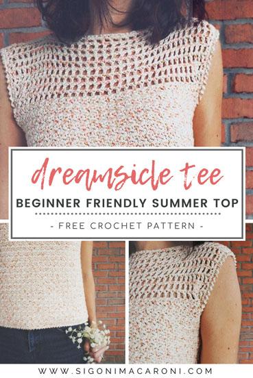 Free Crochet Pattern Dreamsicle Tee