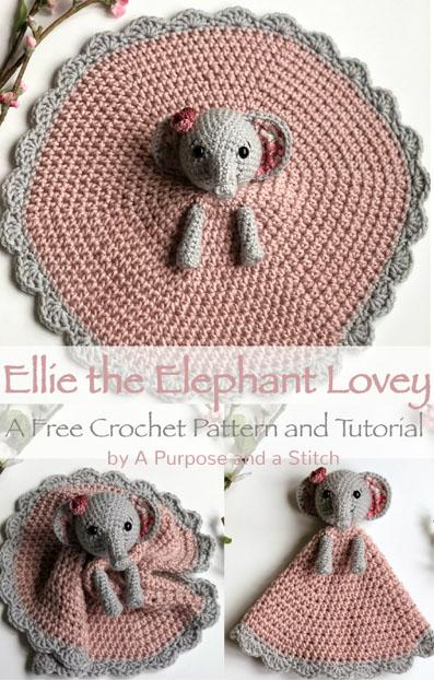 Free Crochet Pattern Elephant Lovey Ellie