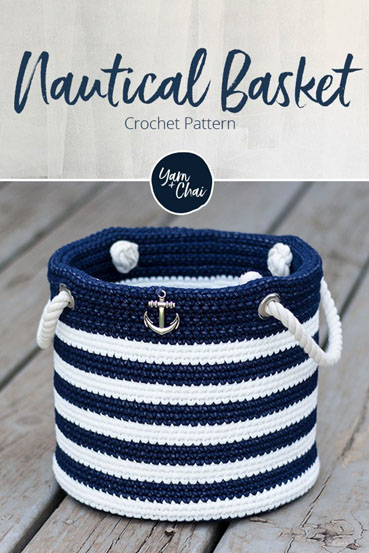 Free Crochet Pattern Nautical Basket