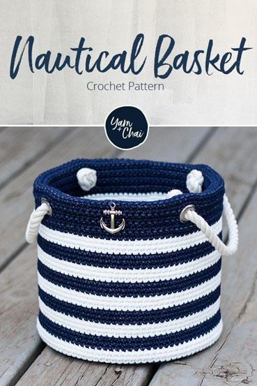 Free Crochet Pattern Nautical Basket