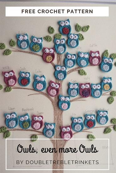 Free Crochet Pattern Owl Applique