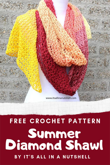 Free Crochet Pattern Summer Diamond Shawl