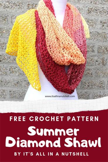 Free Crochet Pattern Summer Diamond Shawl