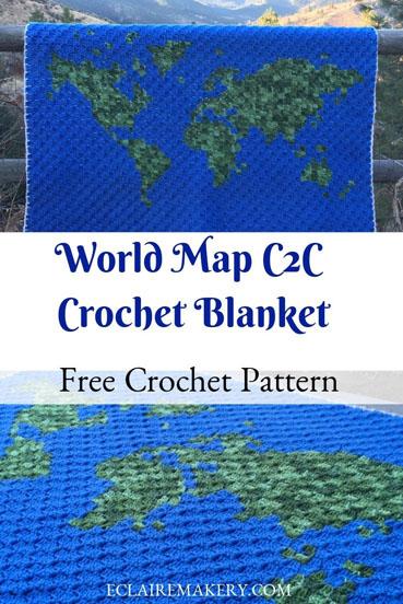 Free Crochet Pattern World Map Blanket