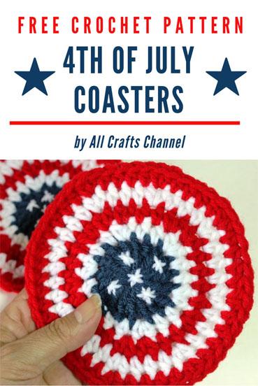 Free Crochet Pattern 4th of July Coasters