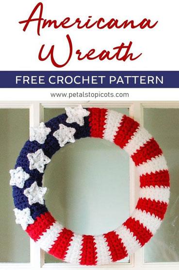 Free Crochet Pattern American Flag Wreath