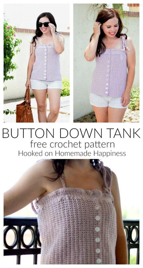 Free Crochet Pattern Button Down Tank
