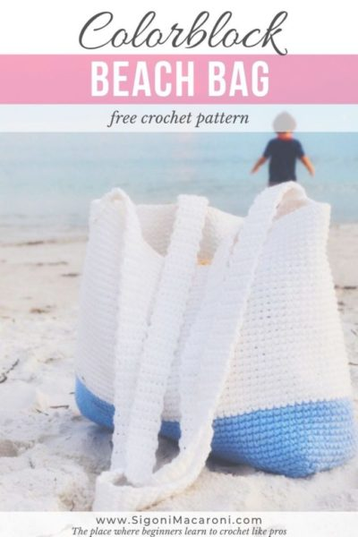 Free Crochet Pattern Colorblock Beach Bag