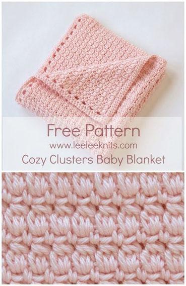 Free Crochet Pattern Cozy Clusters Baby Blanket