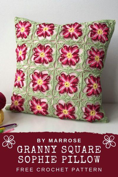 Free Crochet Pattern Granny Square Sophie Pillow