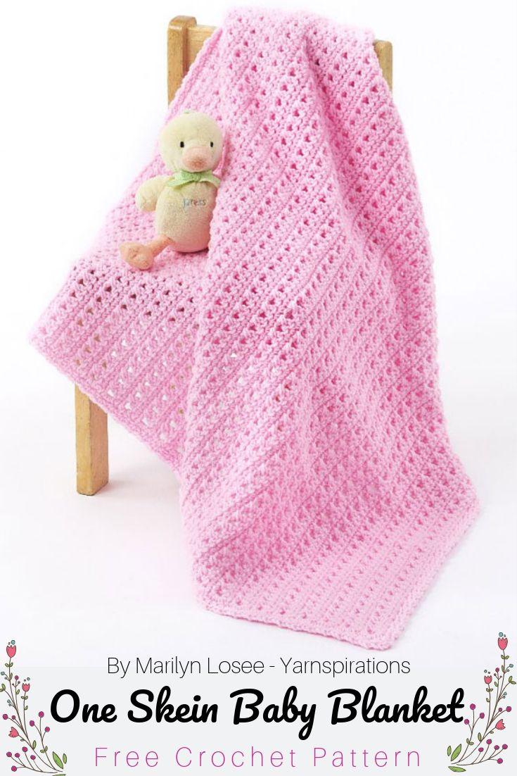 Free Crochet Pattern One Skein Baby Blanket