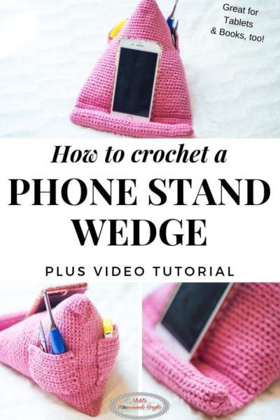 Free Crochet Pattern Phone Stand Wedge