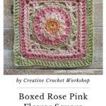 Free Crochet Pattern Pink Flower Square