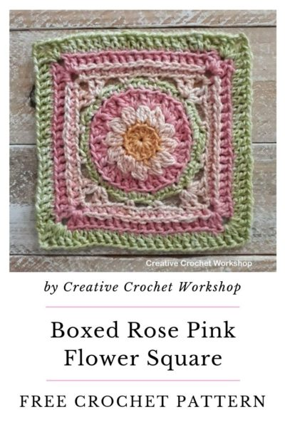 Free Crochet Pattern Pink Flower Square