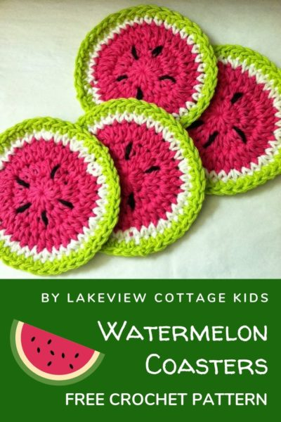 Free Crochet Pattern Watermelon Coasters