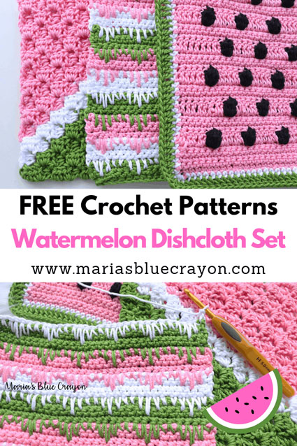 Free Crochet Pattern Watermelon Dishcloth Set
