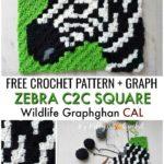 Free Crochet Pattern Zebra C2C Square