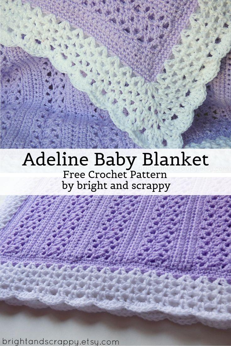 Free Crochet Pattern Adeline Baby Blanket