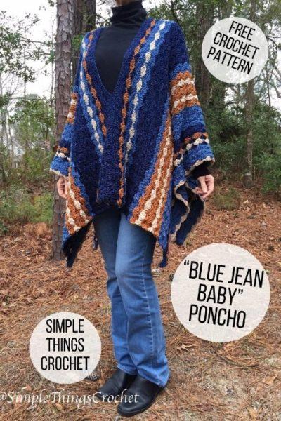 Free Crochet Pattern Blue Jeans Baby Poncho