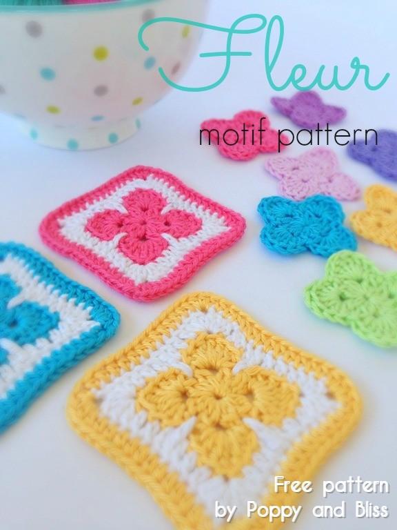 Free Crochet Pattern Fleur Motif Square