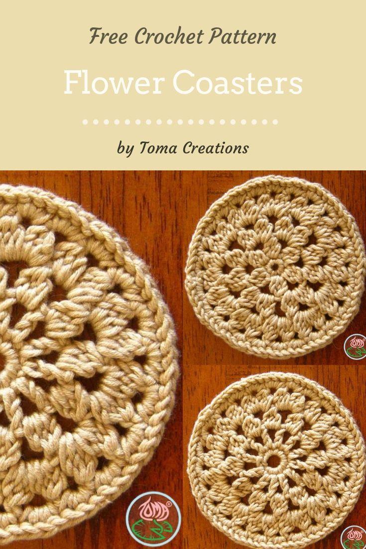 Free Crochet Pattern Flower Coasters