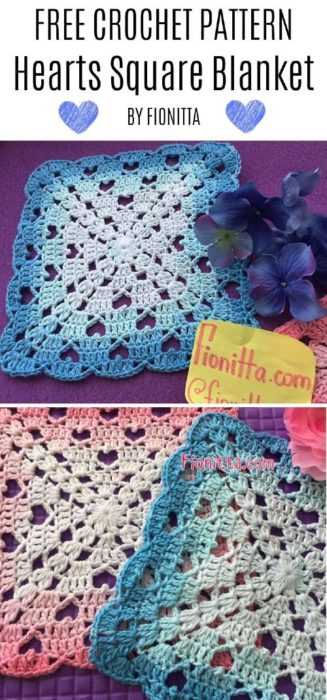 Free Crochet Pattern Hearts Square Blanket