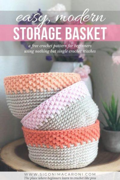 Free Crochet Pattern Modern Storage Basket