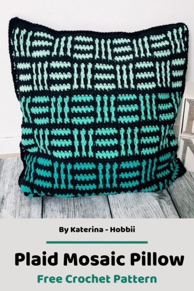 Free Crochet Pattern Plaid Mosaic Pillow