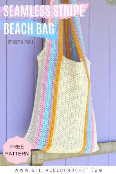 Free Crochet Pattern Seamless Stripe Beach Bag
