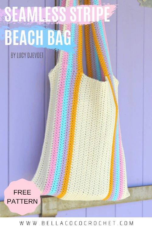 Free Crochet Pattern Seamless Stripe Beach Bag