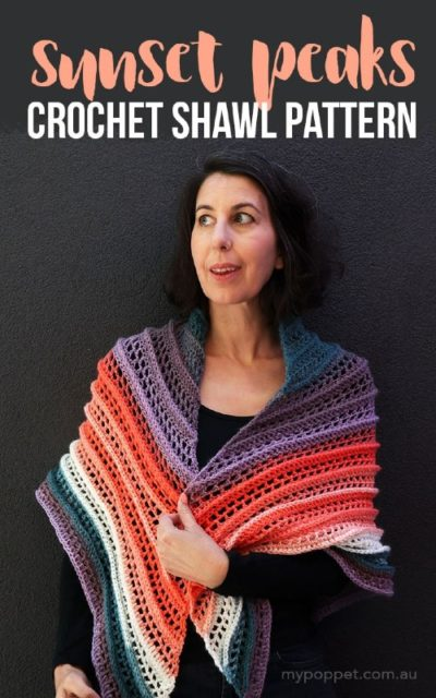 Free Crochet Pattern Sunset Peaks Shawl