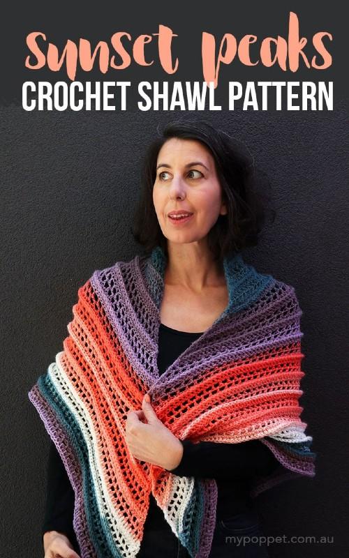 Free Crochet Pattern Sunset Peaks Shawl