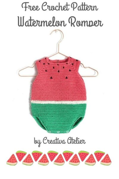 Free Crochet Pattern Watermelon Romper