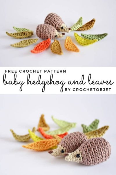 Free Crochet Pattern Baby hedgehog and Leaves