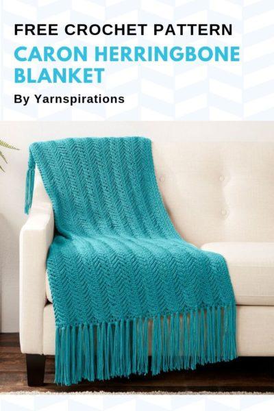 Free Crochet Pattern Caron Herringbone Blanket